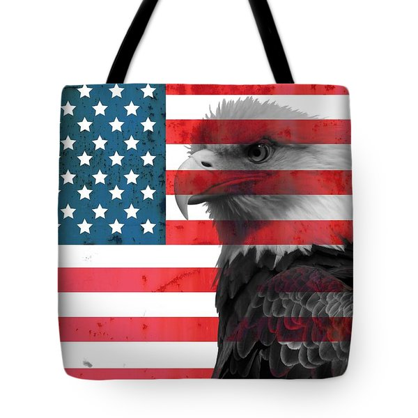 Bald Eagle American Flag Tote Bag