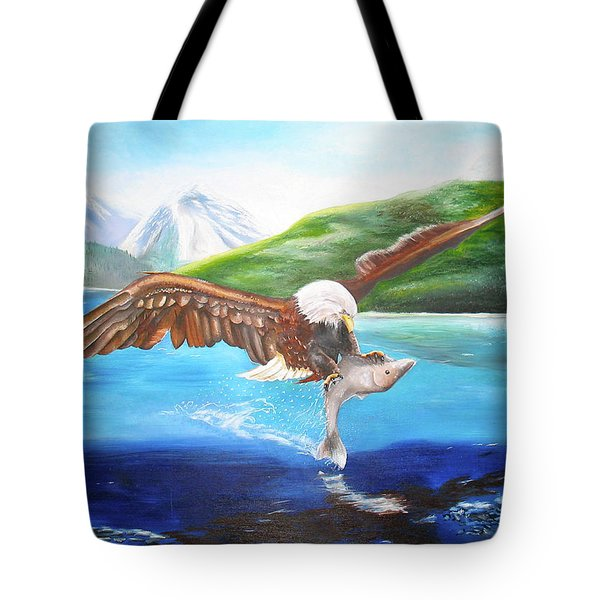 Tote Bag featuring the painting Bald Eagle Having Dinner by Thomas J Herring