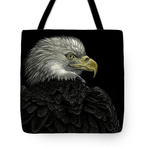 Tote Bag featuring the drawing American Bald Eagle by Sandra LaFaut