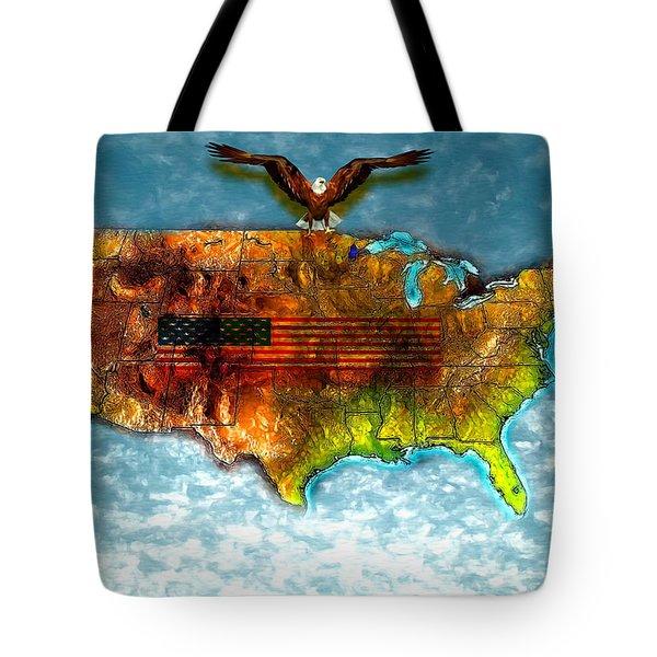 Bald Eagle U.s. Map Tote Bag by Daniel Janda