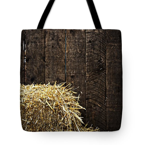 Bale Of Straw And Wooden Background Tote Bag