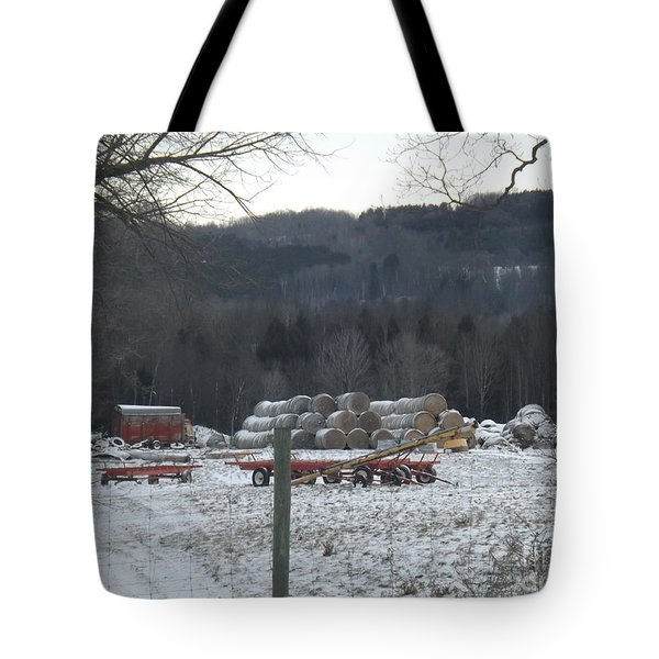 Tote Bag featuring the photograph Bales Of Hay by Brenda Brown