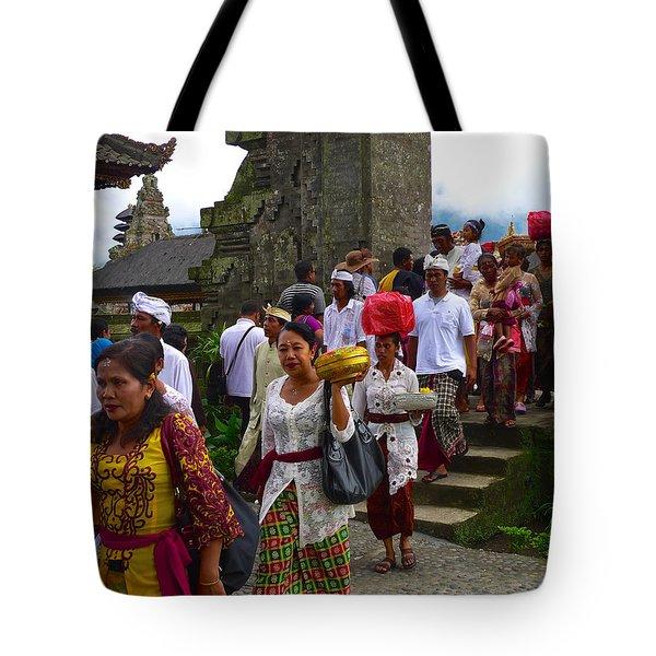 Balinese Leaving Beratan Temple Bali Tote Bag
