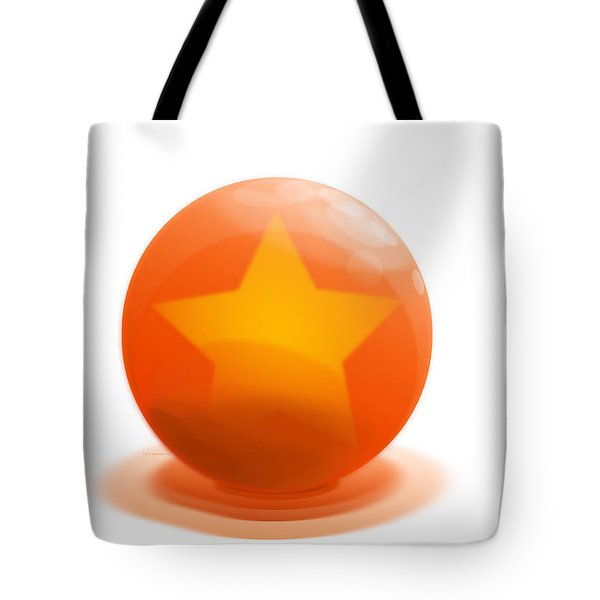 Tote Bag featuring the sculpture orange Ball decorated with star white background by R Muirhead Art