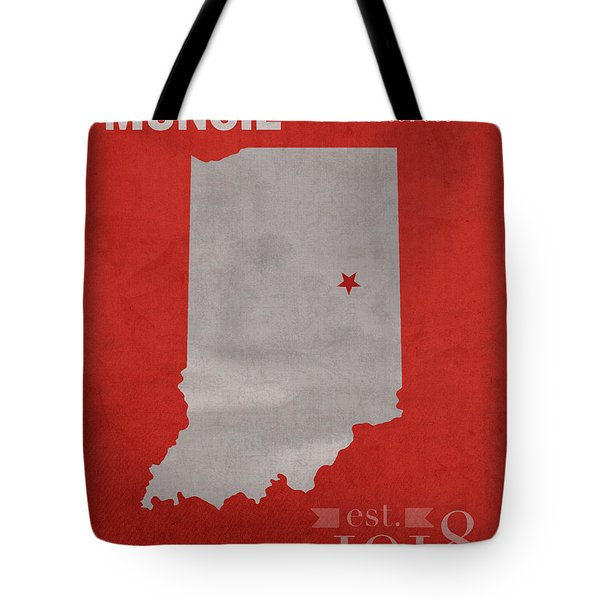 Ball State University Cardinals Muncie Indiana College Town State Map Poster Series No 017 Tote Bag by Design Turnpike