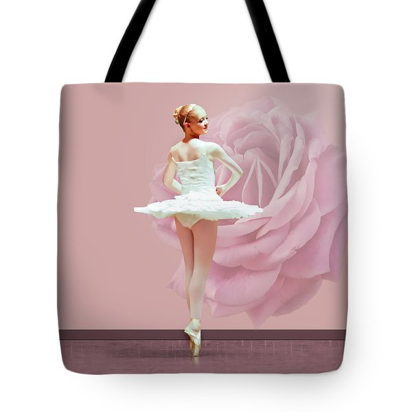 Ballerina In White With Pink Rose  Tote Bag by Delores Knowles