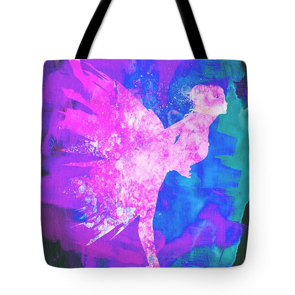Ballerina On Stage Watercolor 1 Tote Bag by Naxart Studio
