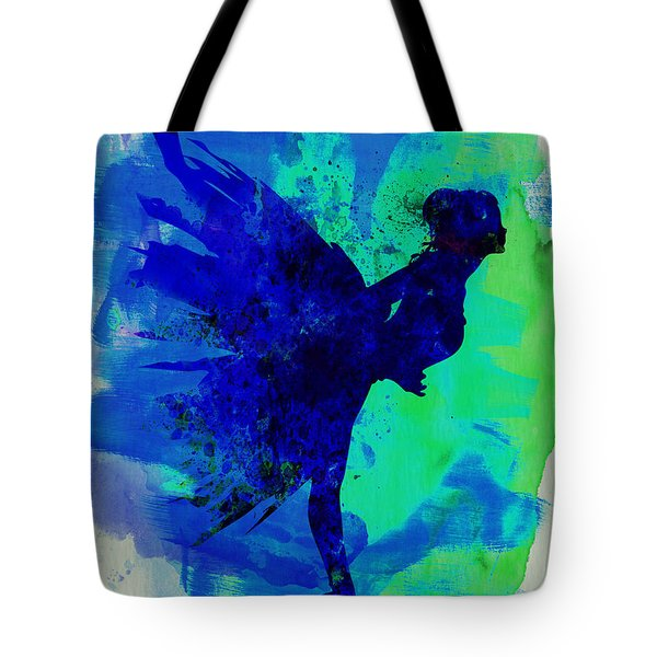 Ballerina On Stage Watercolor 2 Tote Bag by Naxart Studio