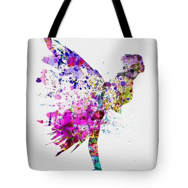Ballerina On Stage Watercolor 3 Tote Bag by Naxart Studio