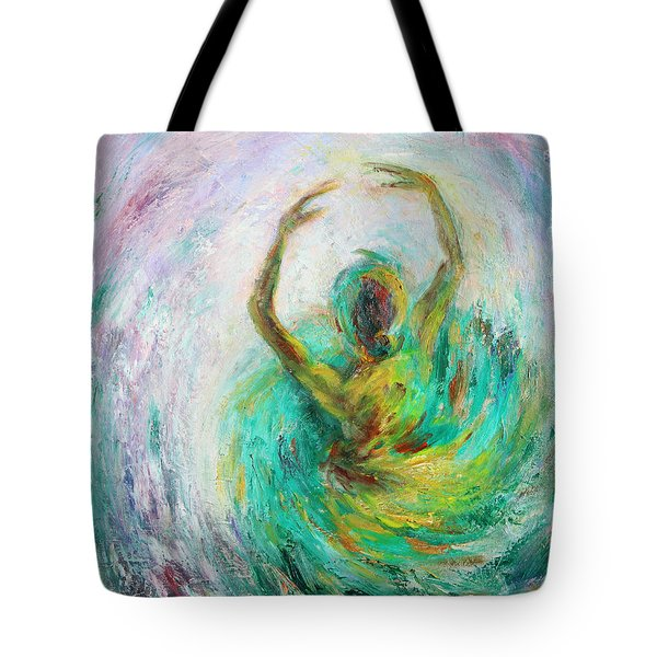 Tote Bag featuring the painting Ballerina by Xueling Zou