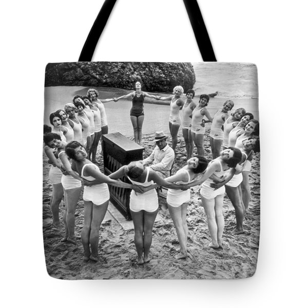 Ballet Rehearsal On The Beach Tote Bag by Underwood Archives