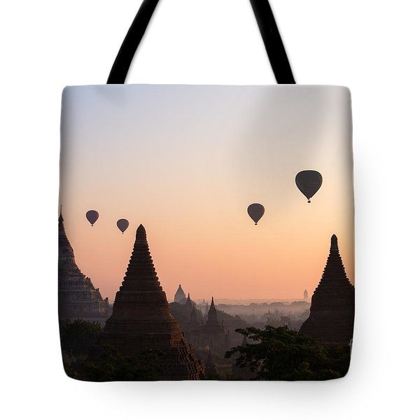 Ballons Over The Temples Of Bagan At Sunrise - Myanmar Tote Bag