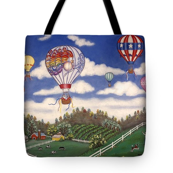 Ballooning Over The Country Tote Bag by Linda Mears