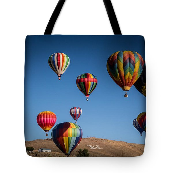 Tote Bag featuring the photograph Balloons Over Northern Nevada by Janis Knight