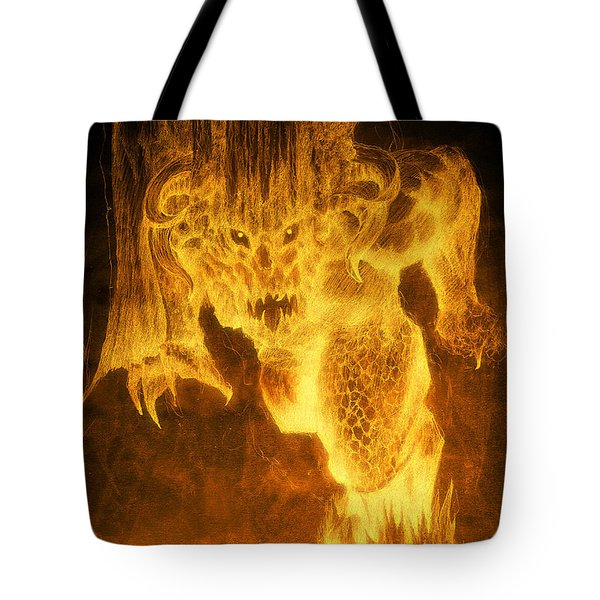Tote Bag featuring the mixed media Balrog Of Morgoth by Curtiss Shaffer