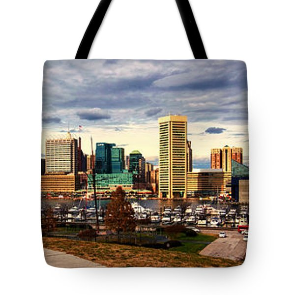 Baltimore Inner Harbor Skyline Panorama Tote Bag