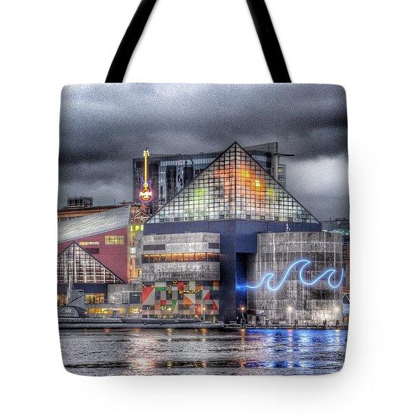 Baltimore Inner Harbor National Aquarium Skyline At Night Tote Bag