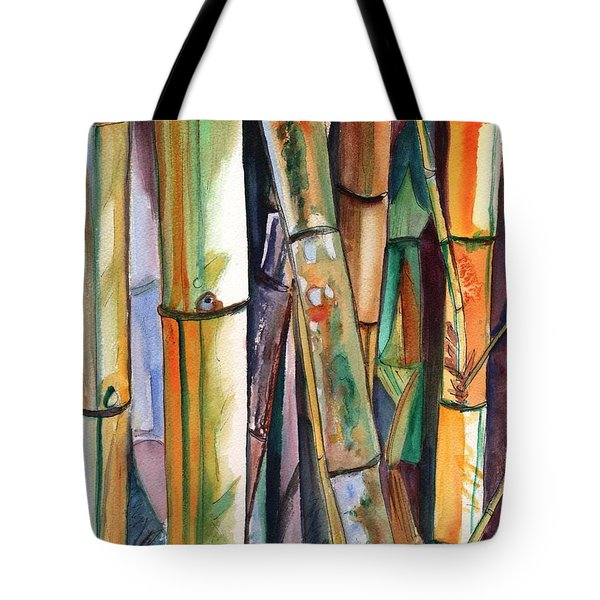 Tote Bag featuring the painting Bamboo Garden by Marionette Taboniar