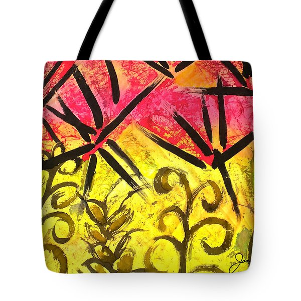 Tote Bag featuring the painting Bamboo In The Wind by Joan Reese
