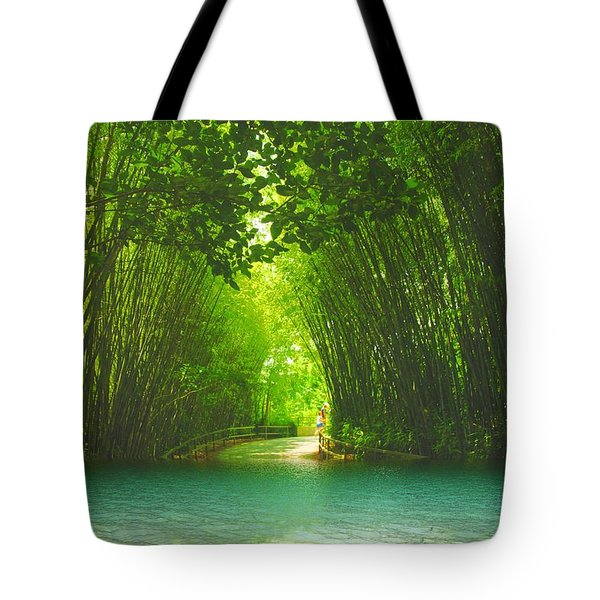 bamboo path to  Blue Lagoon  Tote Bag by Dennis Baswell