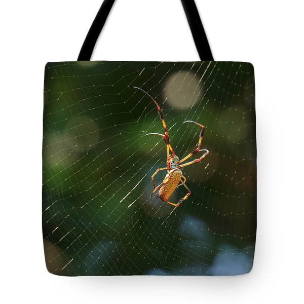 Banana Spider In Web Tote Bag