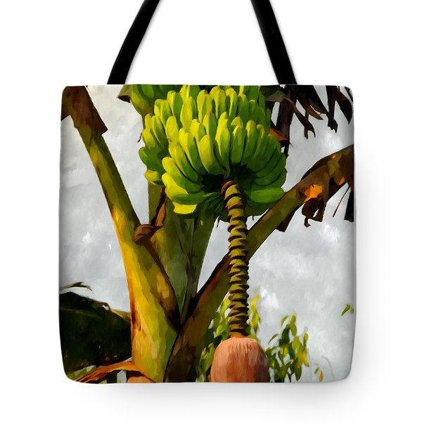 Banana Trees With Fruits And Flower In Lush Tropical Garden Tote Bag by Lanjee Chee