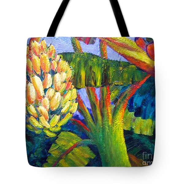 Tote Bag featuring the painting Bananas by Cheryl Del Toro
