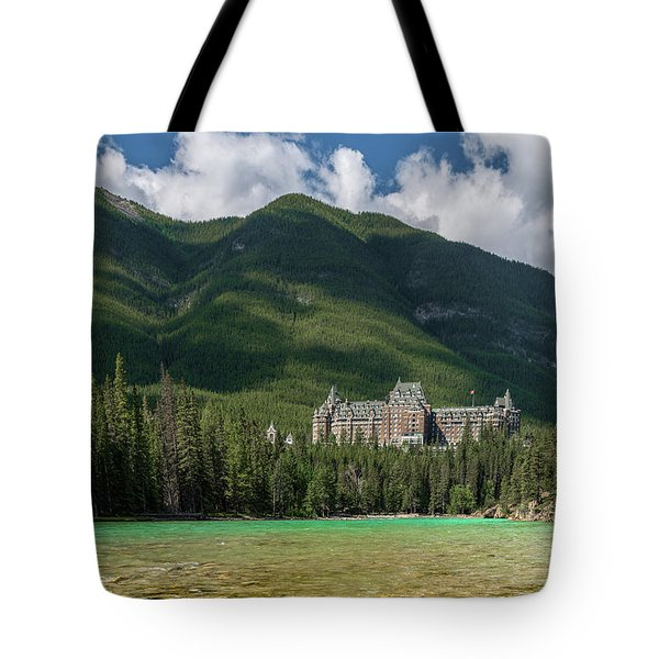 Banff Springs Hotel By Bow River Tote Bag