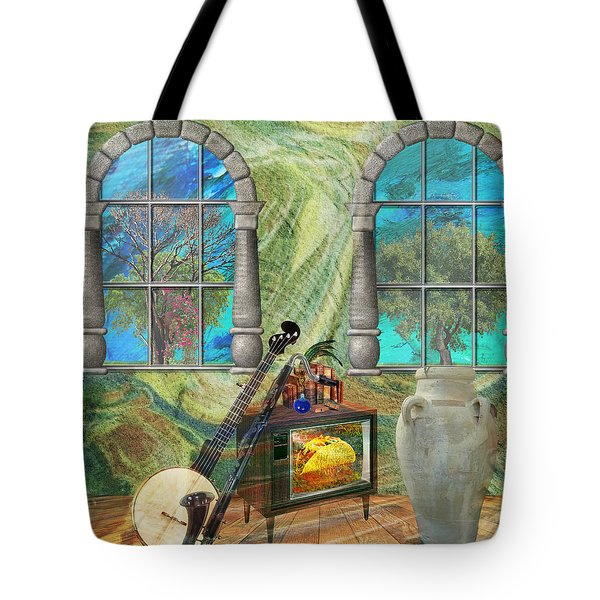 Tote Bag featuring the mixed media Banjo Room by Ally  White