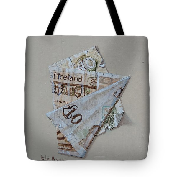 Tote Bag featuring the painting Bank Of Ireland Ten Pound Banknote by Barry Williamson