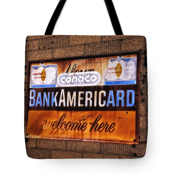Bankamericard Welcome Here Tote Bag by Priscilla Burgers