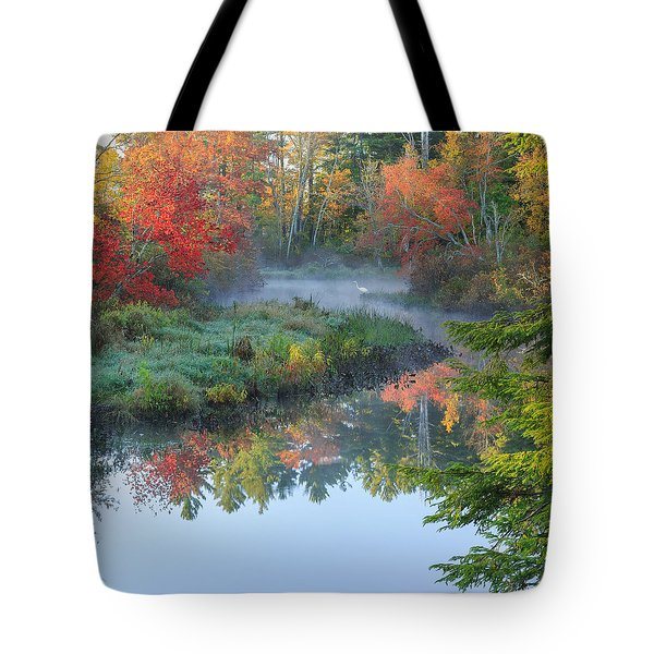 Bantam River Autumn Square Tote Bag by Bill Wakeley