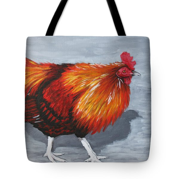 Tote Bag featuring the painting Bantam Rooster 2 by Penny Birch-Williams