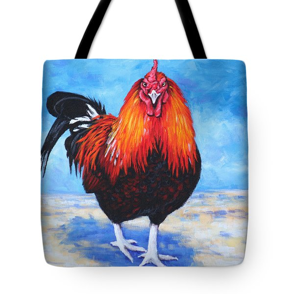 Tote Bag featuring the painting Bantam Rooster by Penny Birch-Williams