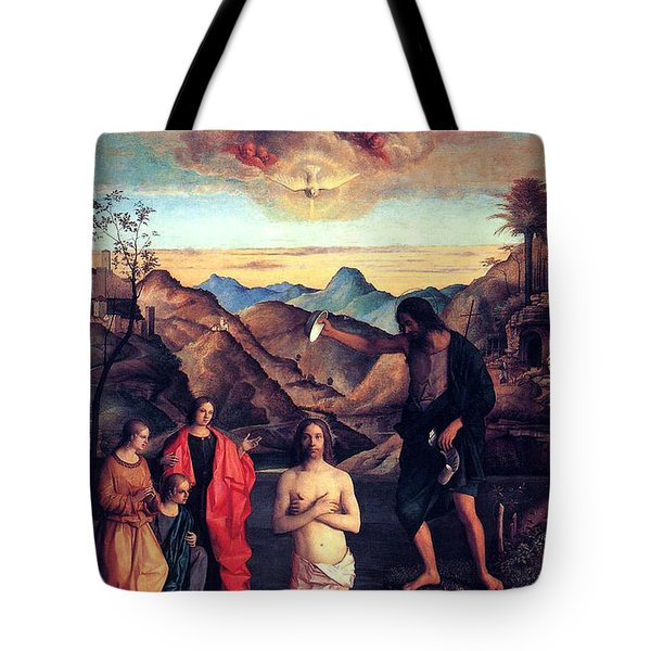 Tote Bag featuring the painting Baptism Of Christ With Saint John 1502 Giovanni Bellini by Karon Melillo DeVega