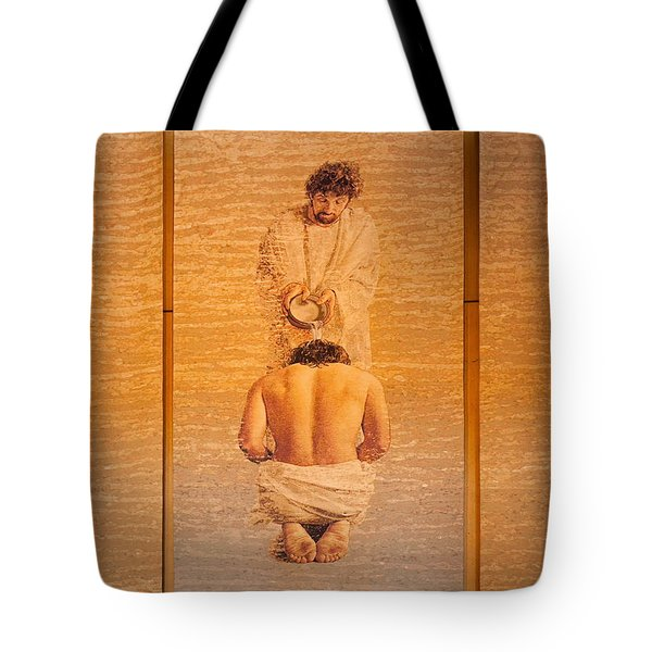 Baptism Of Jesus By Saint John The Baptist - Cathedral Of Our Lady Of The Angels Los Angeles Tote Bag