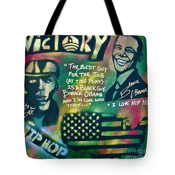 Barack And Mos Def Tote Bag by Tony B Conscious