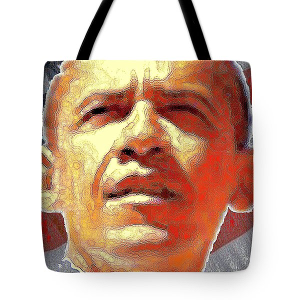 Barack Obama American President - Red White Blue Tote Bag by Art America Gallery Peter Potter