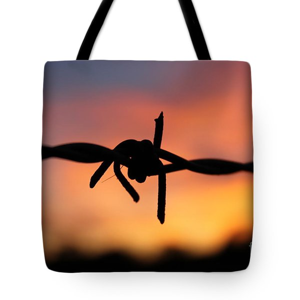 Tote Bag featuring the photograph Barbed Silhouette by Vicki Spindler