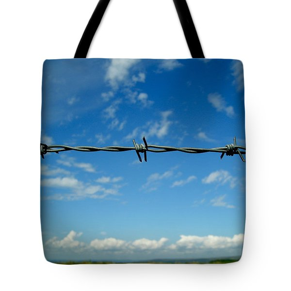 Tote Bag featuring the photograph Barbed Sky by Nina Ficur Feenan