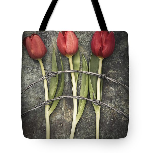 Barbed Wire And Tulip Tote Bag