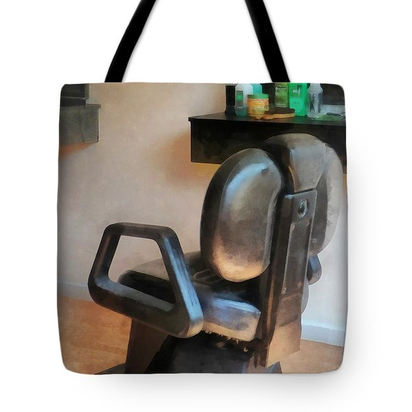Barber - Barber Chair And Hair Supplies Tote Bag by Susan Savad