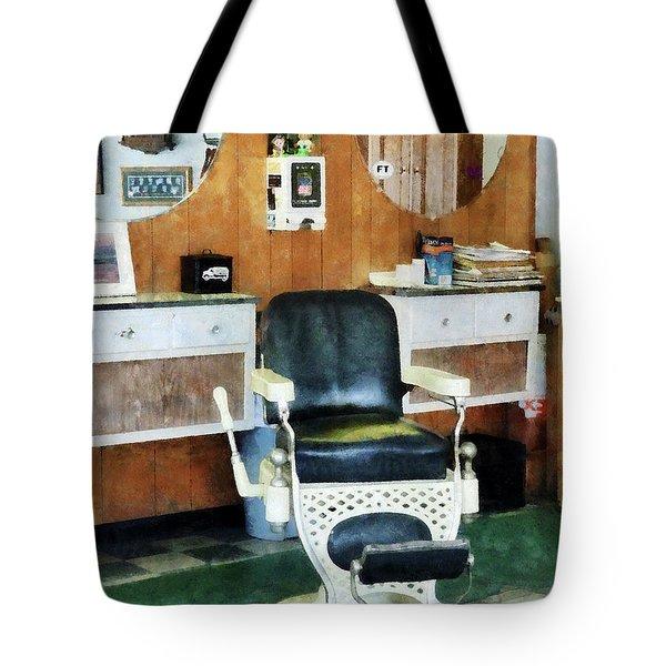 Barber - Barber Shop One Chair Tote Bag by Susan Savad