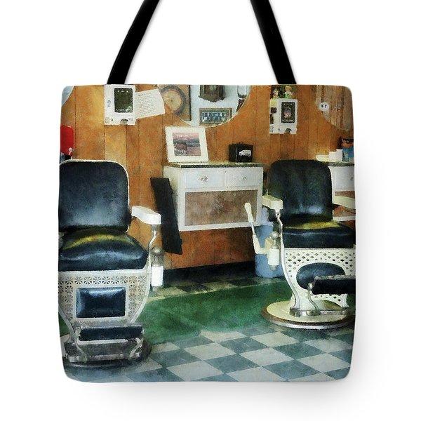 Barber - Corner Barber Shop Two Chairs Tote Bag by Susan Savad