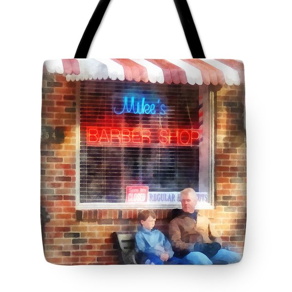 Tote Bag featuring the photograph Barber - Neighborhood Barber Shop by Susan Savad