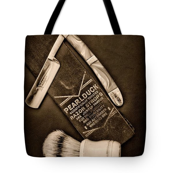 Barber - Tools For A Close Shave - Black And White Tote Bag by Paul Ward