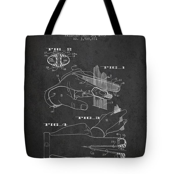 Barbers Glove Patent From 1975 - Charcoal Tote Bag