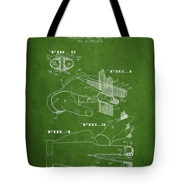 Barbers Glove Patent From 1975 - Green Tote Bag