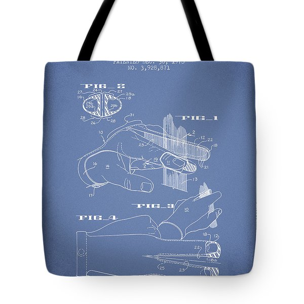 Barbers Glove Patent From 1975 - Light Blue Tote Bag