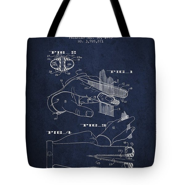 Barbers Glove Patent From 1975 - Navy Blue Tote Bag
